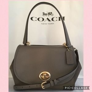 Coach Faye Beige Leather Carryall Crossbody Bag